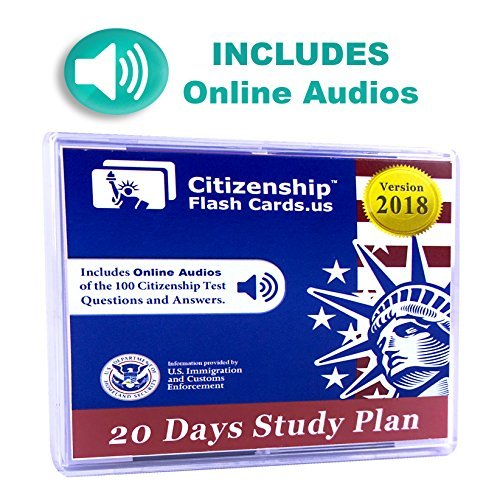 US Citizenship Civics Flashcards 2018 - Includes Online Audios for Naturalization Test. Learn all 100 Official USCIS Civics Questions and Answers in only 20 days.USCIS Civics Flash Cards.