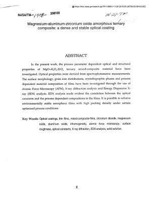 Magnesium-Aluminum-Zirconium Oxide Amorphous Ternary Composite: A Dense and Stable Optical Coating