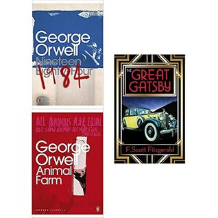 1984 nineteen eighty-four, animal farm and great gatsby 3 books collection set