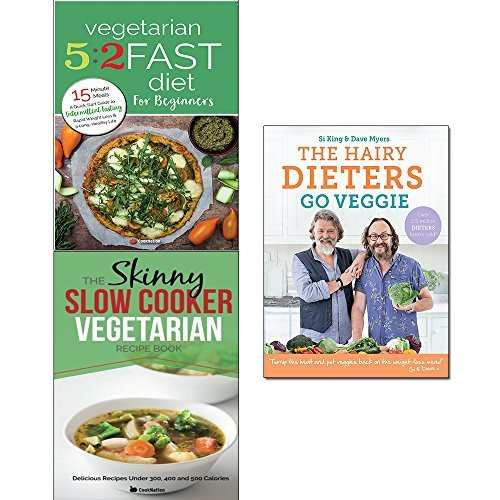 Hairy dieters go veggie, vegetarian 5 2 fast diet and slow cooker vegetarian recipe book 3 books collection set