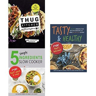 Thug kitchen cookbook [hardcover], 5 simple ingredients slow cooker and tasty and healthy 3 books collection set