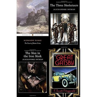 Count of monte cristo, three musketeers, man in the iron mask and great gatsby 4 books collection set