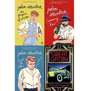 Grapes of wrath, east of eden, cannery row and great gatsby 4 books collection set