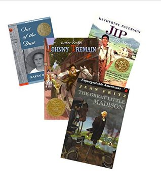 Historical Fiction Books (5 Books): Out of the Dust; a Proud Taste for Scarlet and Miniver; Johnny Tremain; JIP His Story; the Great Little Madison