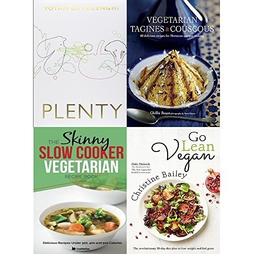 Plenty [hardcover], vegetarian tagines and couscous [hardcover], slow cooker vegetarian recipe book and go lean vegan 4 books collection set
