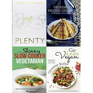 Plenty [hardcover], vegetarian tagines and couscous [hardcover], slow cooker vegetarian recipe book and go lean vegan 4 books collection set