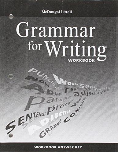 McDougal Littell Literature: Grammar for Writing Workbook Answer Key Grade 8