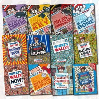 Where's Wally Collection Martin Handford 12 Books set (Where's Wally?, Where's Wally Now?,The Fantastic Journey,In Hollywood, The Wonder Books,Odlaw's Binoculars,Wally's Key,Woof's Bone..