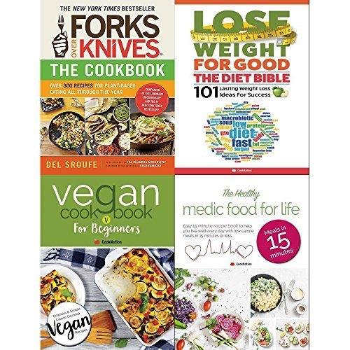 Forks over knives cookbook, diet bible, vegan cookbook for beginners and healthy medic food for life 4 books collection set