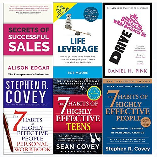 Secrets of successful sales, drive, life leverage, 7 habits of highly effective people and teens and personal workbook 6 books collection set