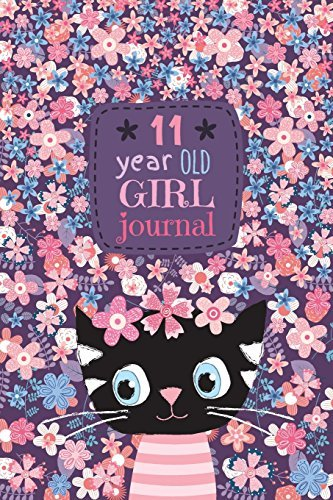 "11 Year Old Girl Journal: Cute Cat Diary for Kids to Keep Memories, Draw and Sketch, Happy Birthday Notebook Wide Ruled and Blank Framed Sketchbook Pages, 50 sheets/100 pages, 6"" x 9"" Soft Cover"