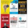 Multipliers liz wiseman, life leverage, mindset with muscle, how to be fucking awesome, fitness mindset and mindset carol dweck 6 books collection set