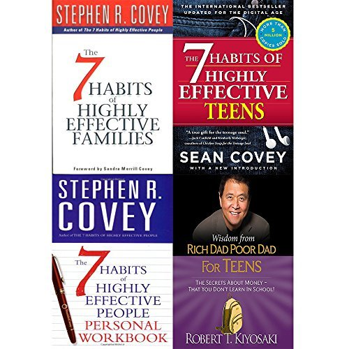 7 Habits of highly effective families, teens, people personal workbook and wisdom from rich dad poor dad [hardcover] 4 books collection set