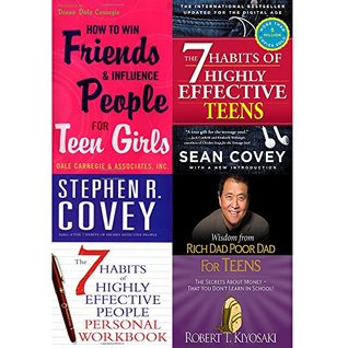 How to Win Friends and Influence People / 7 Habits of Highly Effective Teens / People Personal Workbook / Wisdom from Rich Dad Poor Dad (4 Books Collection Set)