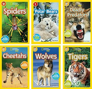 National Geographic Readers Tigers, Cheetahs, Polar Bears, Wolves, Spiders, Deadly Predators 6 pack