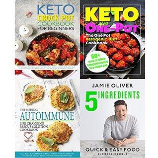 5 ingredients hardcover], medical autoimmune life, keto crock pot cookbook,one pot ketogenic 4 books collection set