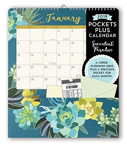Orange Circle Studio 2019 Pockets Plus Wall Calendar, Mia Charro Succulent Paradise