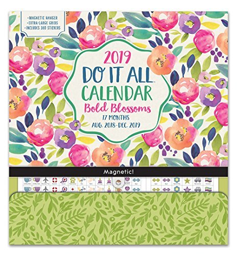 Orange Circle Studio 2019 Do It All Magnetic Wall Calendar, August 2018 - December 2019, Bold Blossoms