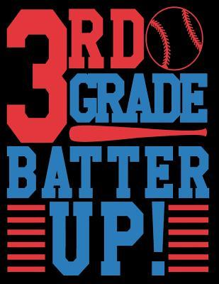 3rd Grade Batter Up Wide Rule Composition Notebook for Boys Baseball: 108 Lined Pages for Back to School Writing