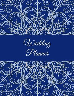 """Wedding Planner: Blue Color Art Design, 2019-2020 Calendar Wedding Monthly Planner 8.5"""" X 11"""" Wedding Planning Notebook, Guest Book, Perfect Wedding Gift"""