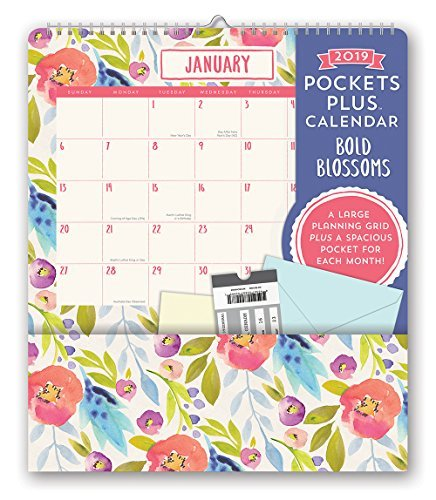 Orange Circle Studio 2019 Pockets Plus Wall Calendar, Bold Blossoms