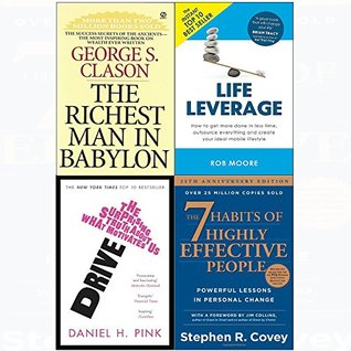 7 Habits of highly effective people, richest man in babylon, drive, life leverage 4 books collection set
