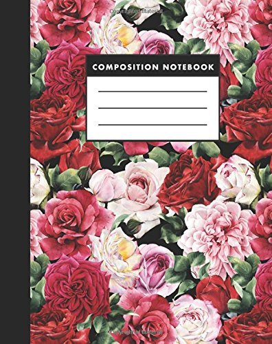 Composition Notebook: Red Rose 8x10 Composition Notebook - Easy to Study