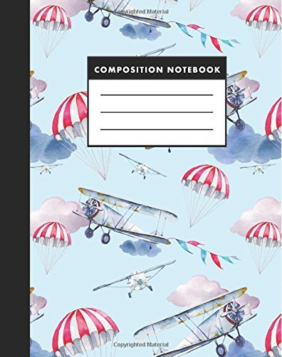 Composition Notebook: Cute Airplane Watercolor 8x10 Composition Notebook - Easy to Study