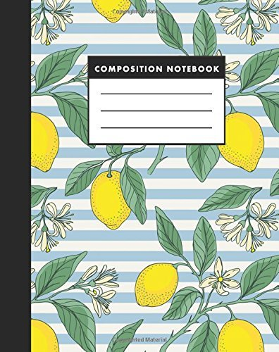 Composition Notebook: Vintage Lemon 8x10 Composition Notebook - Easy to Study