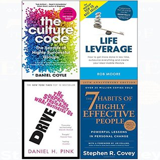 7 Habits of highly effective people, culture code, drive, life leverage 4 books collection set