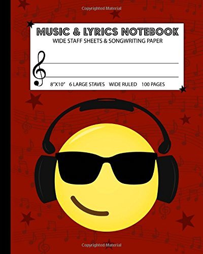 "Music & Lyrics Notebook: Dual Wide Staff Manuscript Sheets & Wide Ruled/Lined Songwriting Paper Journal For Kids & Teens (8""x10"" - 50 Sheets/100 Pages) Red Cover"