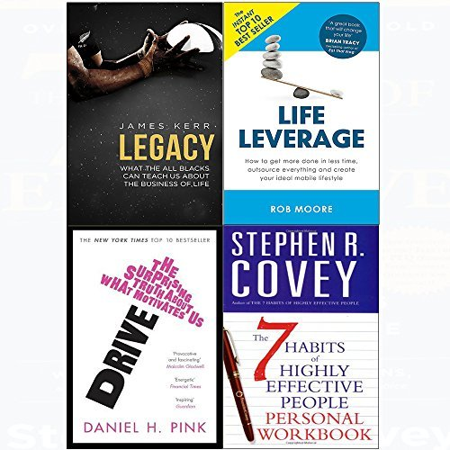 7 Habits of highly effective people personal workbook, legacy, drive, life leverage 4 books collection set