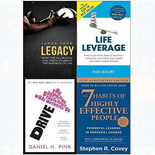 7 Habits of highly effective people, legacy, drive, life leverage 4 books collection set