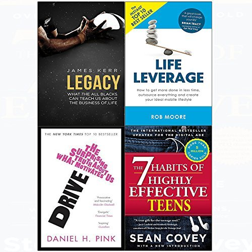 7 Habits of highly effective teens, legacy, drive, life leverage 4 books collection set