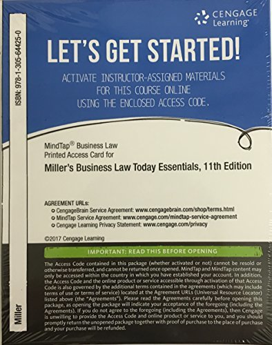 Mindtap Business Law, 1 Term (6 Months) Printed Access Card for Miller's Cengage Advantage Books: Business Law Today, the Essentials: Text and Summarized Cases, 11th