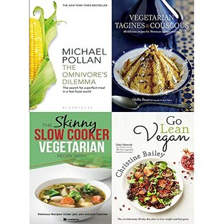Omnivore dilemma, vegetarian tagines and couscous [hardcover], slow cooker vegetarian recipe book and go lean vegan 4 books collection set