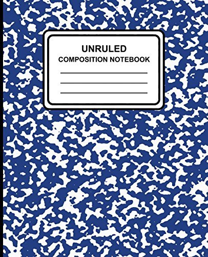 "Unruled Composition Notebook: Marble (Blue) , 7.5"" x 9.25"", Unruled Notebook, 100 Pages, Professional Binding"
