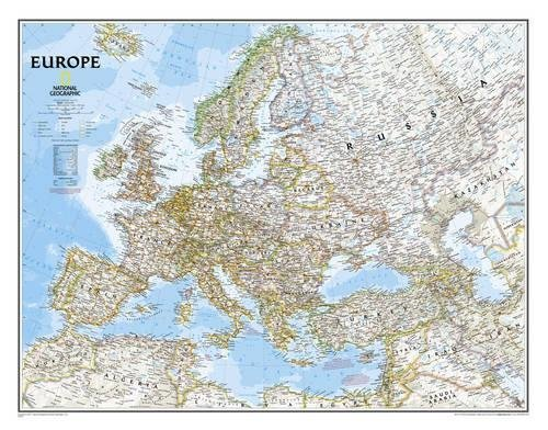 National Geographic: Europe Classic Wall Map (30.5 X 23.75 Inches)