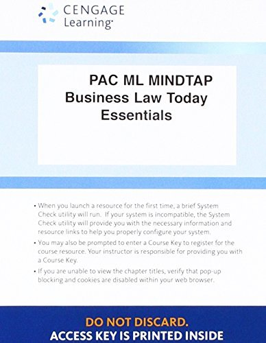 LMS Integrated for MindTap Business Law, 1 term (6 months) Printed Access Card for Miller's Cengage Advantage Books: Business Law Today, The Essentials: Text and Summarized Cases, 11th