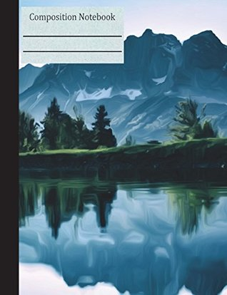 Mountain Lake Landscape Composition Notebook - 4x4 Graph Paper: Lined Quad Ruled Pages Nature Trees Forest Green Blue Diary Planner Math Geometry Diagrams