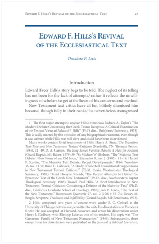 Edward Freer Hills's Contribution to the Revival of the Ecclesiastical Text