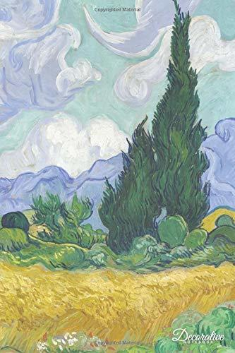 Decorative Notebook: Wheatfield with Cypresses by Vincent Van Gogh Journal Pocket-sized Notebook Travel Diary