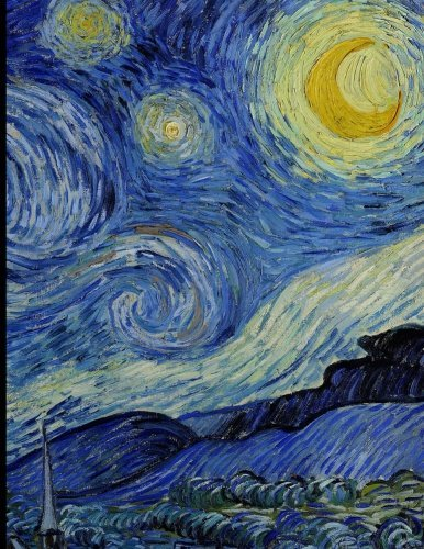 Notebook: Large Journal Notebook, Calligraphy Paper, with Van Gogh's Starry Night; 8.5x11 Notebook, Use as a Journal or Diary or as a Gift for Men, Women, Boys, or Girls