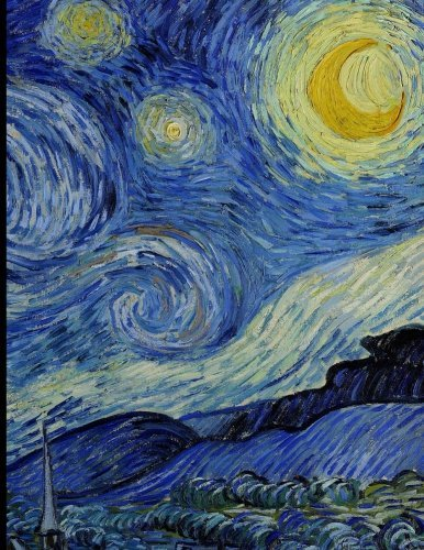 Notebook: Large Journal Notebook with Spaces for Dates, with Van Gogh's Starry Night; 8.5x11 Notebook, Use as a Journal or Diary or as a Gift for Men, Women, Boys, or Girls