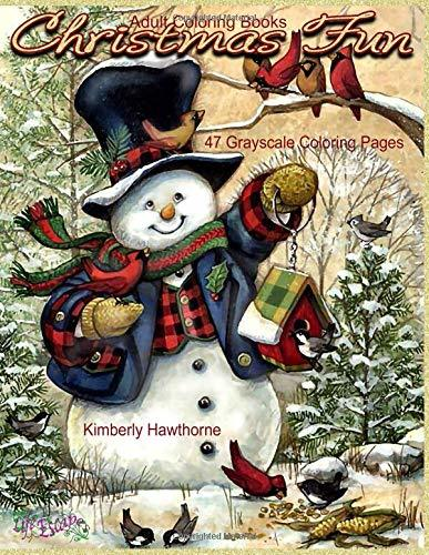 Adult Coloring Books Christmas Fun 47 Grayscale Coloring Pages: Beautiful grayscale images of Winter Christmas holiday scenes, Santa, reindeer, elves, snow, holiday decorations, Christmas tree lights