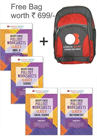 Oswaal NCERT & CBSE Pull-out Worksheets Class 9 Hindi A, Science, Social Sci. & Maths (Set of 4 Books) + Free School Bag