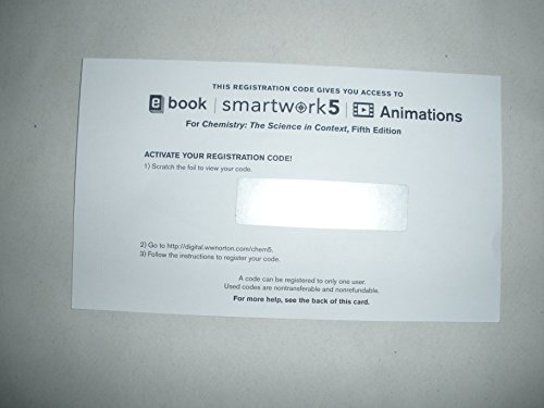 Smartwork5 Printed Access Card for Use with Chemistry: The Science in Context 5th Edition