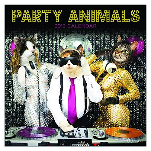 """Time Factory Party Animals 12"""" x 12"""" January -December 2019 Wall Calendar (19-1124)"""