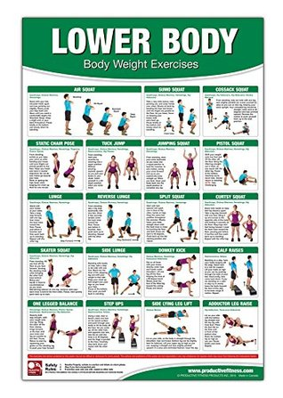 Bodyweight Training Poster/Chart - Lower Body: Body Weight Training - Leg Workout - Body Weight Exercises - Butt Workout - Body Training Exercises - No Equipment Routine - Ab Routine - Thigh Workout