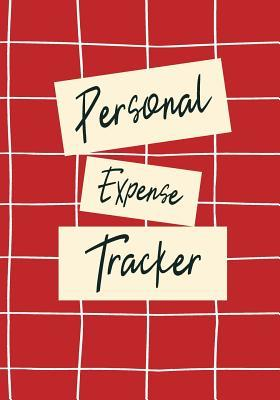 personal expense tracker red geometric grid daily and monthly